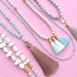New Love's Affect beaded 3 tassel necklace